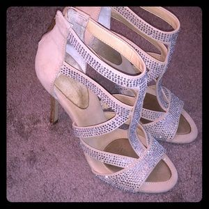 BCBG open toe high heels